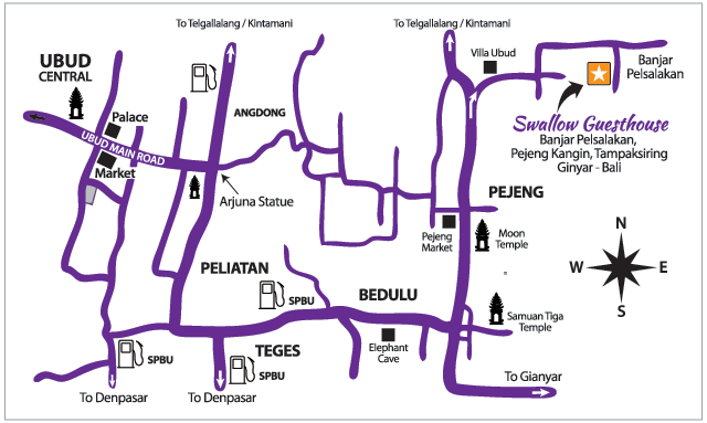 Map to Swallow Guesthouse